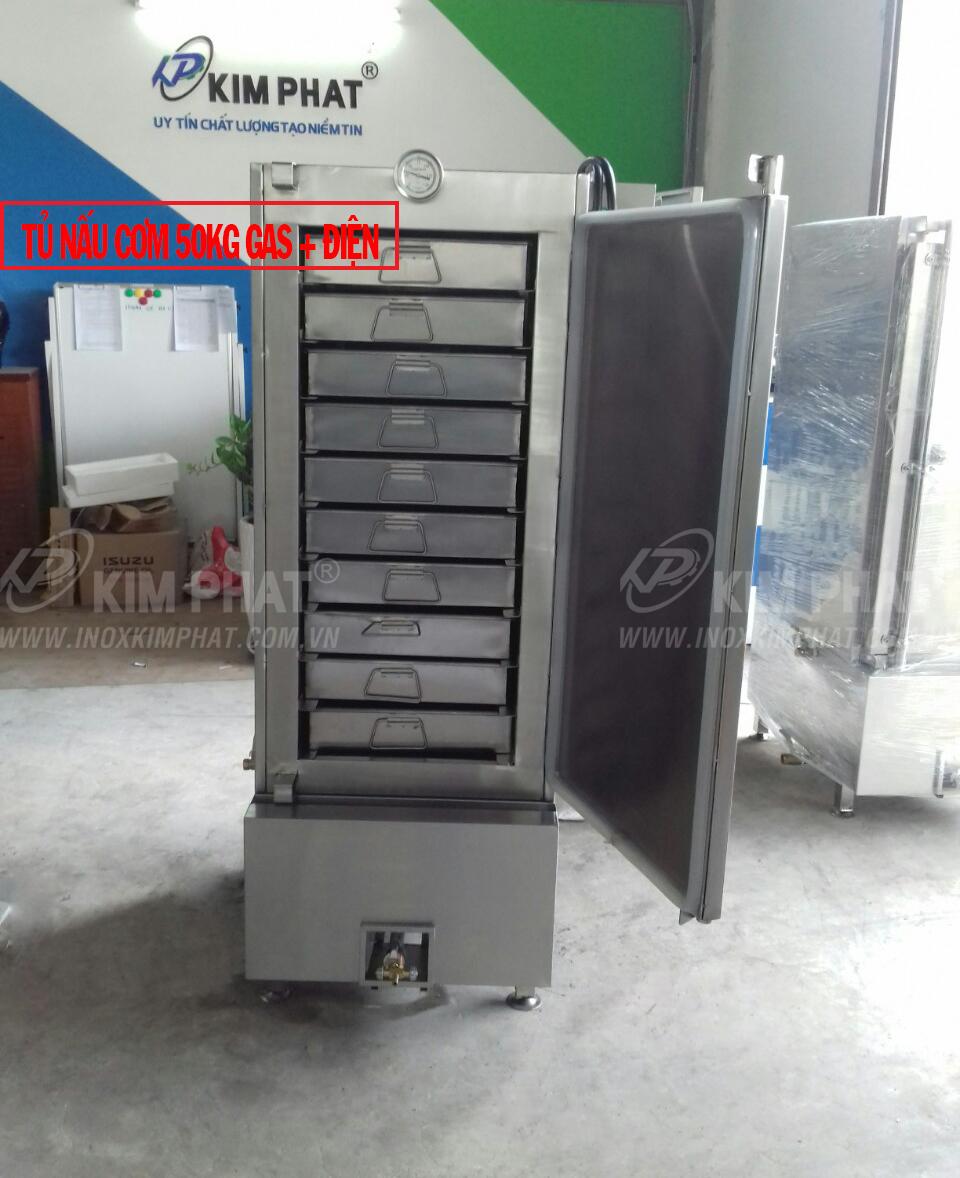 tủ hấp cơm 50kg công nghiệp gas điện
